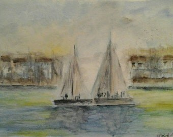 Original Impressionist Watercolour Seascape Painting of Boats