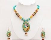 Handpainted Radha Krishna Pendant Necklace