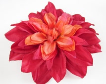 Large Red Pink Hair Flower Fascinator-Hand Sewn Fabric Flower Hair Clip-One of a Kind- 1950s Pinup Flower- Gerbera Daisy- The Velvet Begonia