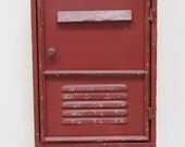 industrial urban metal red key cabinet with 3 coat hooks