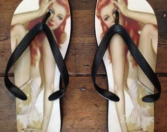 Very rare 'Limited Edition'Designer Vintage PIN-UP GIRL Flip Flops by Dilla's
