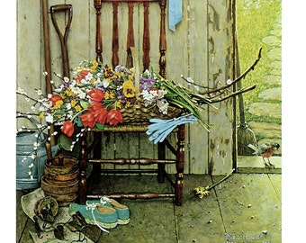 Spring Flowers 1969 in McCall's Unusual in the fact that no humans painted by Norman Rockwell