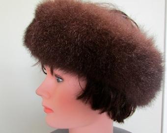 Brown opposum fur headband