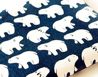 Bear Fabric Cotton Linen Fabric Navy Blue With Off White Polar Bears Kids Fabric for Cloth Curtain Quiltting Upholstery 1/2 yard f123