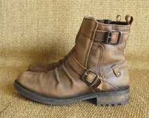 Vintage STONE PARK Brown Leather Zip Up Ankle Boots Size US Men 8 / Euro 41