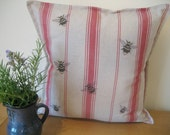 Individually Designed and Handmade Bumble Bee and Red Ticking Cushion - Country Decor - Rustic Decor