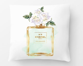 Watercolour perfume flower Cushion pillow 18x18 inches bedroom Watercolor painted Fashion decor Roses rose gold effect beauty mint, green,