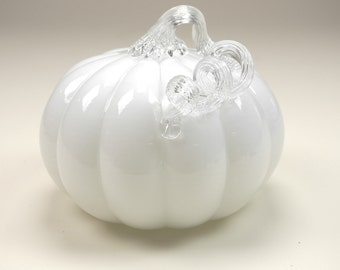 Milky white and clear glass Pumpkin