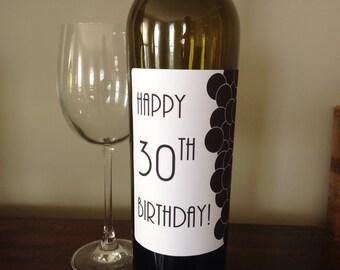FREE SHIPPING! Happy birthday wine label. Custom  21st birthday, 30th birthday, 40th birthday, 50th birthday, 60th birthday, 100th birthday