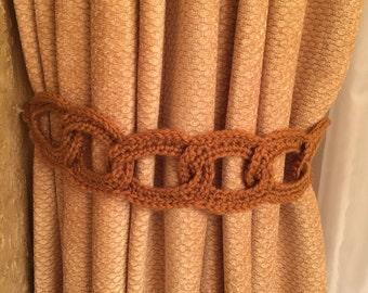 Crochet Curtain Tieback - 1 pair, rusty gold