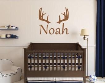 Personalized Deer Antler Rack Hunting Boy Girl Name Wall Decal