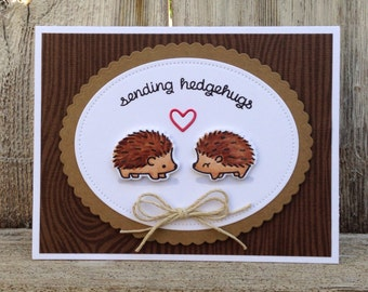 Sending Hedgehugs / I Love You Handmade Greeting Card / Just Because / Thinking of You / Thank You / Hedgehog / Hugs