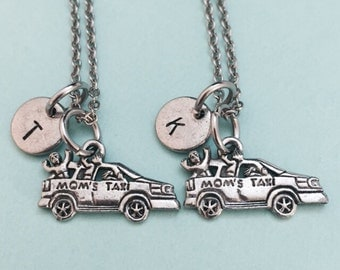 Best friend necklace, mom necklace, car jewelry, bff necklace, friendship jewelry, friends, personalize necklace, initial necklace, mom taxi