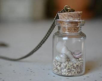 Sandy Beach in a Bottle - Bottle Necklace