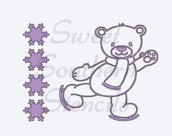 PYO Skating Winter Bear Cookie Stencil