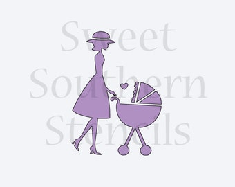 Mom and Baby Carriage Stencil