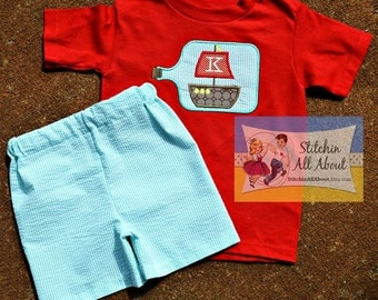 Boys Monogrammed Shirt- Toddler Boys Personalized Shirt- Boys Sailboat Shirt- Baby Boys- Sailboat Short Set- 6m, 12m, 18m, 2t, 3t, 4t, 5t,6