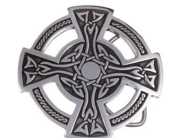 Celtic cross belt buckle  40mm -Hand Made and Design in UK
