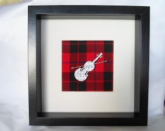 Scottish arts fiddle cutout on NEW RED tartan backing freepost uk.