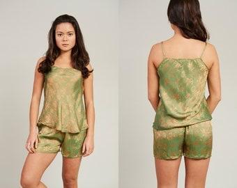 41 Le Loi Green and Orange Patterned Silk 2 Piece Pyjama Set  • S