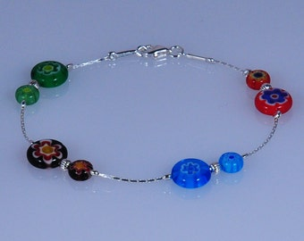 925 Sterling Silver Millefiori Multicoloured Fashion Bracelet  Made in England