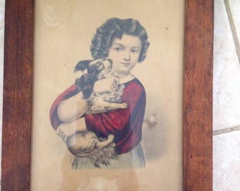 Currier and Ives Little Brother With His Puppy Lithograph
