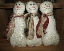 Primitive Trio (three) Frosty Winter Snowmen Snowman Christmas Bowl Filler Ornies HAFAIR OFG Teams