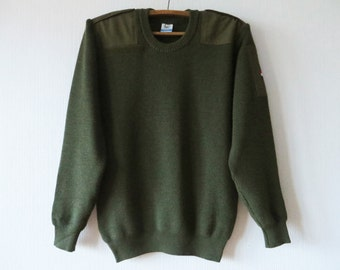 Vintage 80s Wool Military Sweater Khaki Green Sweater Netherlands Army Sweater Camo Olive Green Commando Pullover Grunge Elbow Patch Large