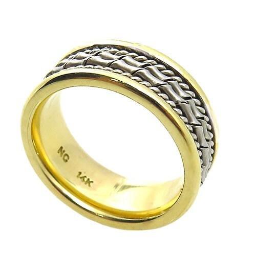 14k two tone gold fancy wedding ring