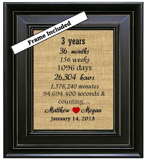 Framed personalized third wedding anniversary gift 3rd for 3 yr wedding anniversary gift for him