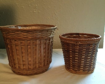 Set of 2 Woven Wicker Planters Plant Holders Bohemian