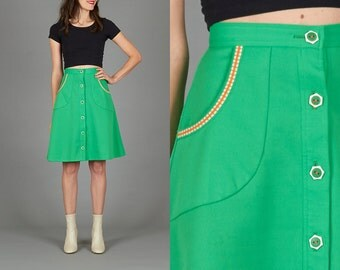 Vintage 70s Green Button Down Skirt