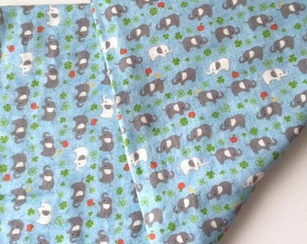 Japanese double gauze XL baby blanket in blue and gray with elephants   -swaddle blanket