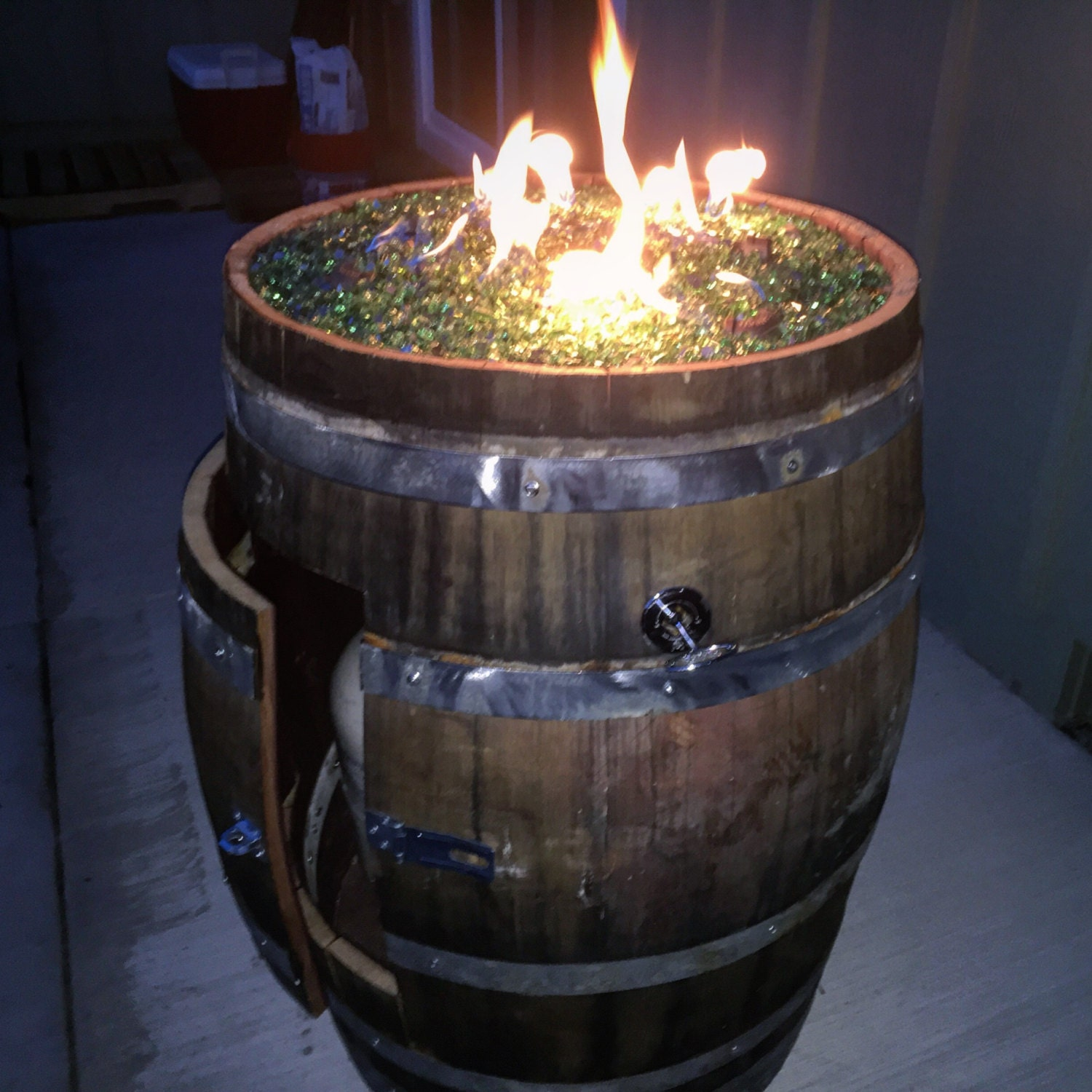 Wine Barrel Fire Pit Deluxe Edition