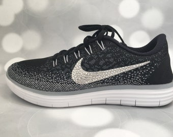 Nike Free RN Distance in Black / Grey / White / Embellished with Swarovski Crystals / Bling Nikes
