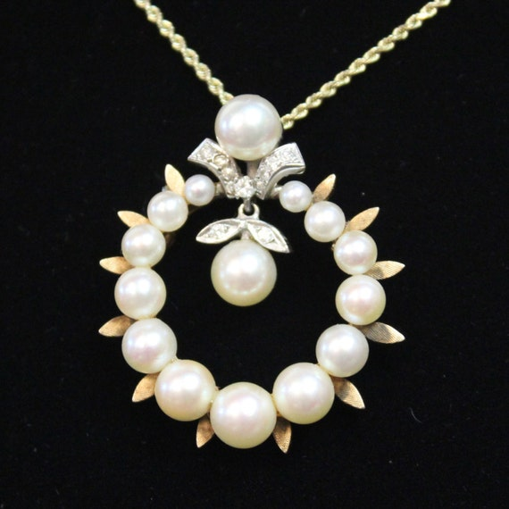 Victorian Pearl and Diamond Diamond & Pearl Circle Brooch Pin Pendant Vintage Estate, 14k yellow gold