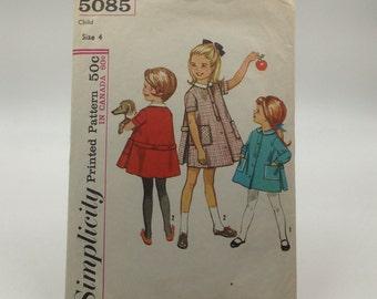 Child's One Piece Dress Pattern, Vintage Simplicity Pattern 5085, Vintage Sewing Pattern
