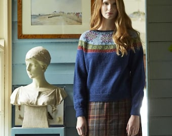 Sweater knitting pattern , Wren designd by Marie Wallin, Fair Isle jumper knitting pattern, uses Titus wool.