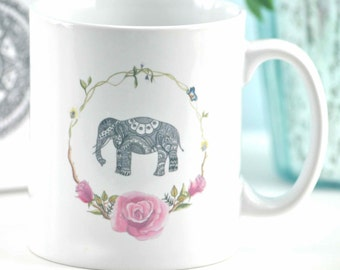 Floral Elephant mug with optional gift box - perfect unique present for animal, elephant and yoga lovers