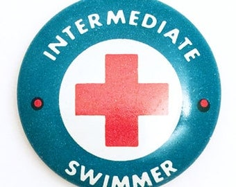 Vintage Lifeguard Button: Intermediate Swimmer, c. 1960's