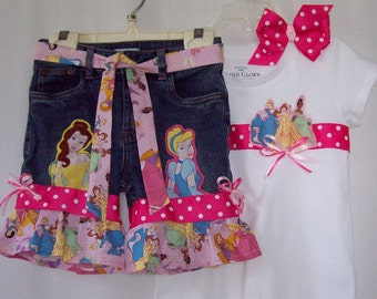 Custom boutique Disney Princess denim shorts & shirt outfit all sizes available