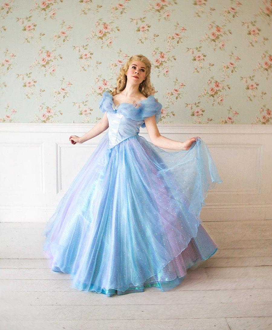 Light version Cinderella dress 2015 Free Shipping Halloween