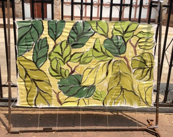 Green leaves. Hand painted on silk