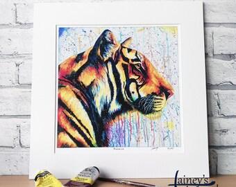 Tiger PRINT, tiger painting, limited edition print, bright tiger, tiger gift, tiger lover