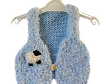 Hand knitted baby waistcoat/gilet