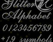 Silver Glitter Alphabet, Digital Glitter Alpha, Silver Digital Alphabet Letters, Silver Glitter Letters, Large Glitter Letters,  Design #122