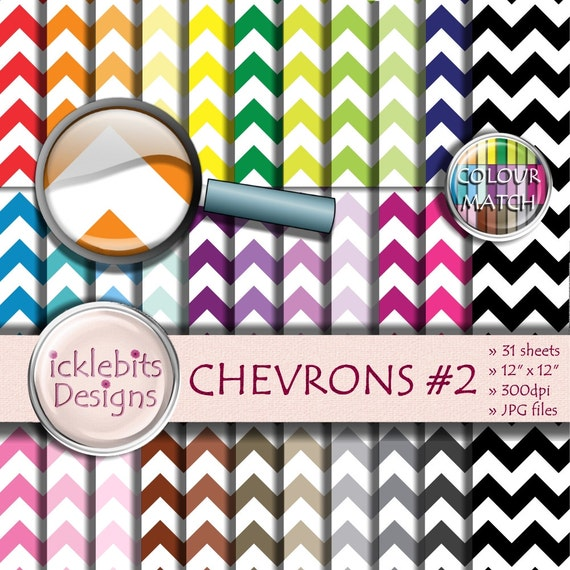 "Chevron Digital Paper Pack ~ ""CHEVRONS #2"" ~ 31 Sheets ~  Chevrons digital paper ~ zigzag paper ~  Rainbow Paper ~ Design #111"