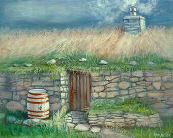 """SCOTLAND PAINTING- PRINT of Original Oil, Scottish """"Black House"""", Isle of Lewis, Outer Hebrides, Celtic Fine Art, Wall Hanging, Home Decor"""