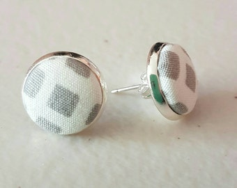 Grey and white fabric stud earrings