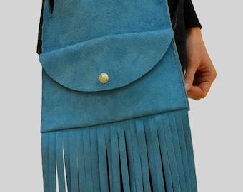 Blue Suede Bag, Blue Suede Handbag, Suede Bag with Fringe, Handbag with Fringe, Suede Fringe Bag, Blue Fringe Bag, Suede Crossbody Bag